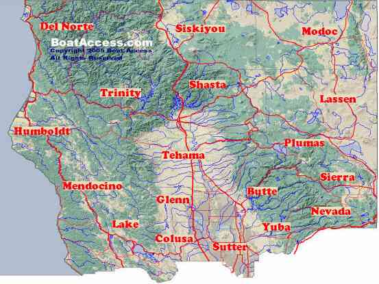 Northern California Boating Marinas Boat Ramps Camping - Northern california map